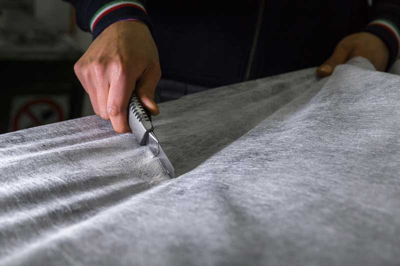 non-woven fabric cut